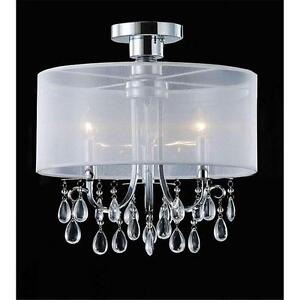 about 3 light white drum shade chrome crystal flush mount chandelier