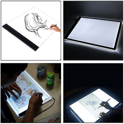 A4 Ultra-thin USB LED Light Tracing Cartoon Tattoo Drawing Pad Box Table US PLUG