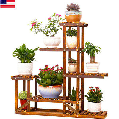 Heavy Duty Wood 5Tier Plant Stand Shelf Indoor/Outdoor Flower 10 Pot Rack Holder