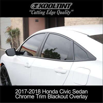 2017-2018 Honda Civic Sedan Chrome Trim Blackout Overlay