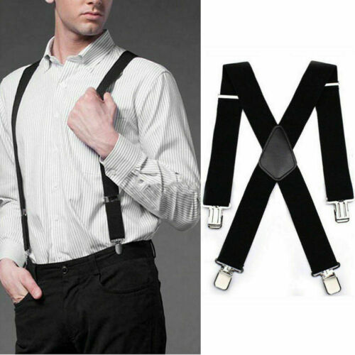Mens Heavy Duty Suspenders Adjustable Clip On Work Braces 50mm Wide Black Usps
