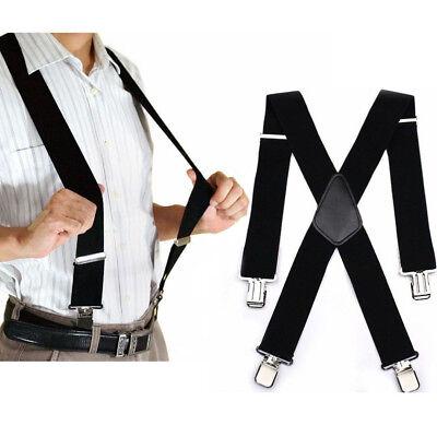 """Mens Braces Suspenders 2""""  Wide Heavy Duty Work Biker Leathers Braces 41"""" Black"""