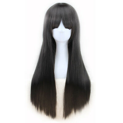 Women's Black Long Straight Hair Wig With Bangs Heat Resistant Daily Cosplay Cap](Womens Black Wig)