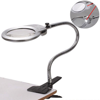 Magnifier With Light - 5X 2.5X Lighted Table Top Desk Magnifier Magnifying Glass With Clamp LED Light