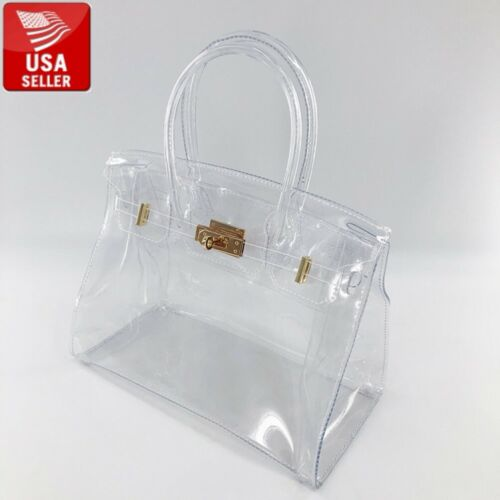 Beautiful Transparent PVC Clear Hand bag Handbag with Clear Handles Gold Closure