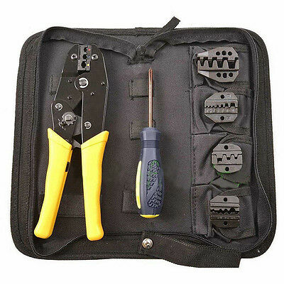 Insulated Terminals Ferrules Crimping Plier Ratcheting Crimper Tool 5 Dies Set