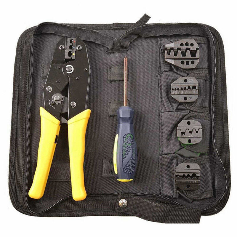 Insulated Terminals Ferrules Crimping Plier Ratcheting Crimper Tool 5 Dies Set