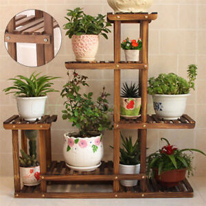 wooden plant stand ebay. Black Bedroom Furniture Sets. Home Design Ideas