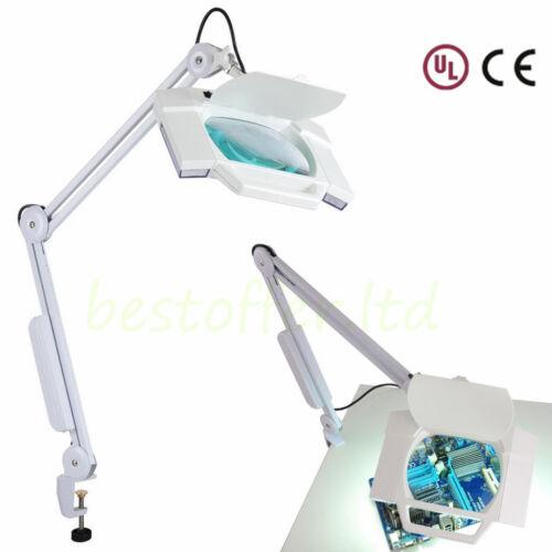 Swing Arm Magnifier Lamp Led 5x Magnifying Glasses Desk L...