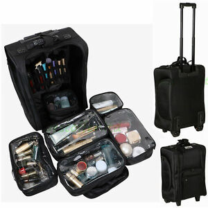 Professional Nylon Trolley Cosmetic Makeup Artist Case Organizer Portable Box