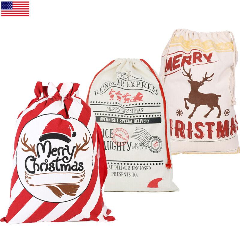 5x Blank Christmas Bag Santa Sack Extra Large Drawstring Xmas Gift Stocking Bag