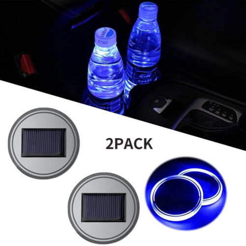 Car Parts - 2PC Solar Cup Pad Car Accessories LED Light Cover Interior Decoration Lights USA