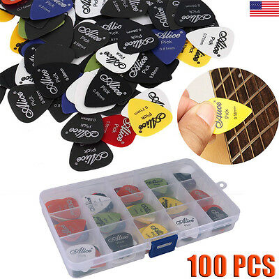 100pcs Acoustic Electric Guitar Picks Plectrum Various 6 Thickness +Pick Box Lot
