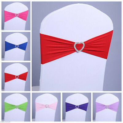 Wedding Reception Decor (100 Universal Spandex Chair Cover Sash Bow Wedding Party Reception Banquet)