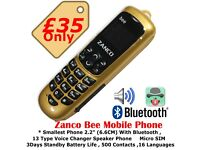 Zanco Bee Smallest Mobile Phone Unlocked to All Networks With Voice Changer
