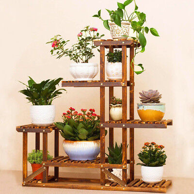 Anti-Corrosion Solid Wood 5Tier Plant Stand Flower Pot Shelf Balcony Holder Rack