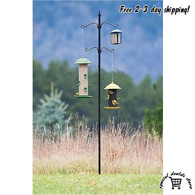 Bird Seed Feeder Station Pole Kit Decor Outdoor Living Garden Backyard Hanger