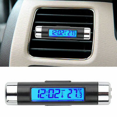 2in1 LED Digital Auto Car Clock Thermometer Temperature LCD Backlight + Battery