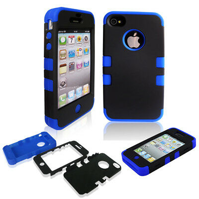 Shockproof Rugged Rubber Silicone Hard Case Cover Skin for Apple iPhone 4 (Apple Iphone Silicone Skin Case)