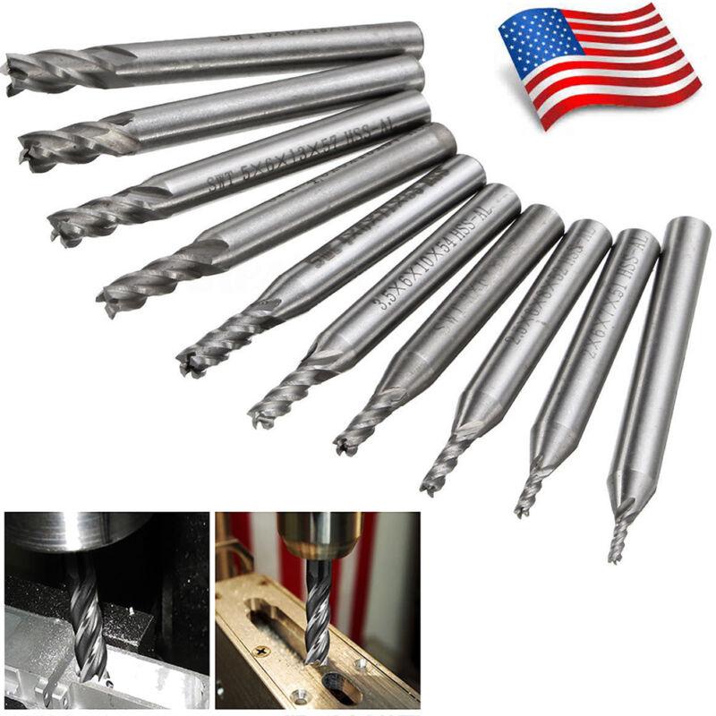 10X 1.5mm-6mm Steel CNC 4 Flute End Mill Hole Cutter Drill Bit Milling Tool Set