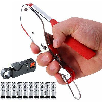 Coaxial Compression BNC Connector Stripper Tool Kit RG6 RG59 Coax Cable Crimper