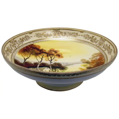 Large Nippon Porcelain Footed Bowl with Scenic Depiction - 1920