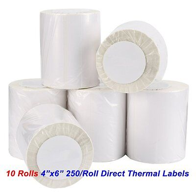 10 Rolls 250roll 4x6 Direct Thermal Labels For Zebra Gc420t Zp450 2844 Eltron