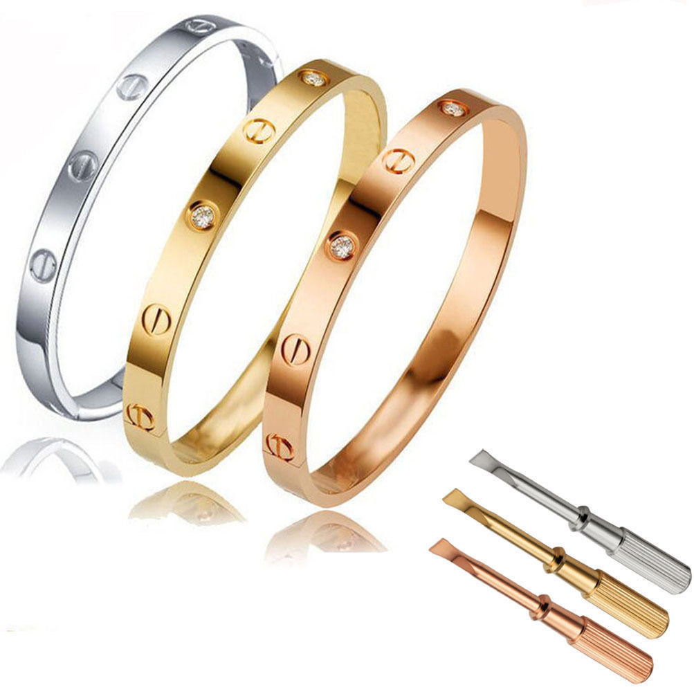 Bracelet - Unisex Men's Women's Steel Fashion Love Screw Bangle Bracelet with Screwdriver