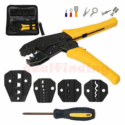 Insulated Terminals Ferrules Crimping Plier Ratcheting Crimper Tool W 5 Dies Us