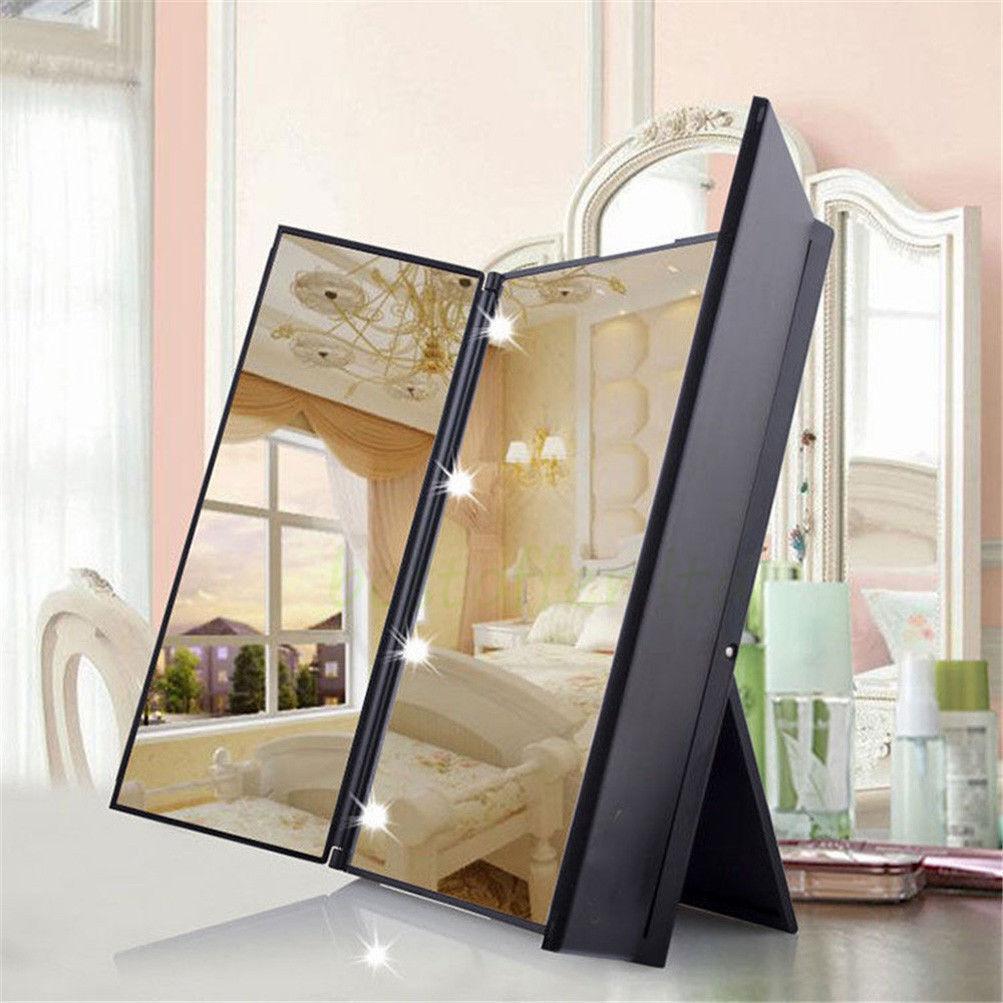 8LED Lighted Vanity Makeup Mirror Tri-Fold LED Adjustable 2X