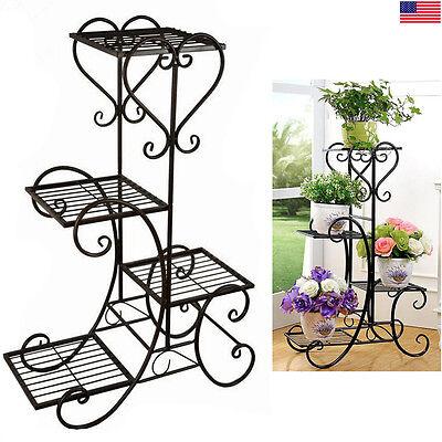 4 TIER Metal Shelves Flower Pot Plant Stand Display Indoor Outdoor Garden Patio