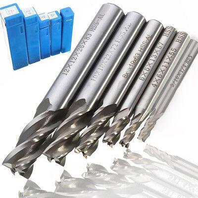 6pc 18-12 Hss Cnc 4 Flute End Mill Cutter Milling Hole Drill Bit Tools Set