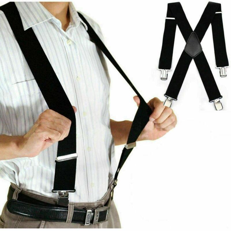 """Mens Black Elastic Suspenders Braces X-back Hook Adjustable Clip-on 2"""" Width"""