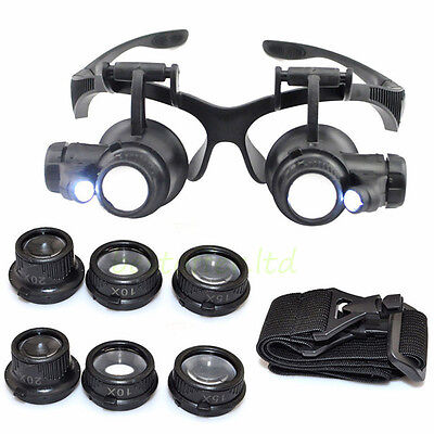 NEW Lighted Magnifying Glasses LED Magnifier Jeweler Watch Repair Loupe Headset