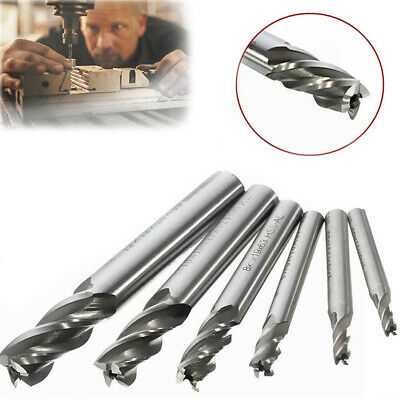 6pc Solid End Mill Cutter Straight Shank Milling Tool Roughing And Finishing Cut
