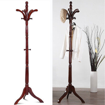 Wooden Coat (Birch Wooden Coat Rack Hat Hanger Hooks Hall Entryway Jacket Umbrella Tree)