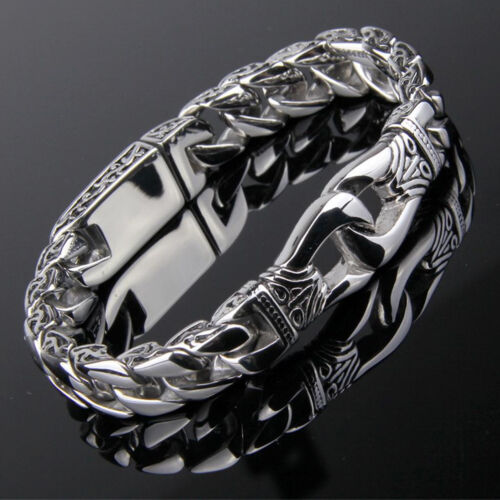Bracelet - Men's Stainless Steel Polished Silver Heavy Huge Curb Link Chain Bracelet Bangle