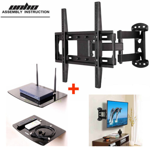 Full Motion Arm TV Wall Mount with 2 Tier DVD Floating Shelv