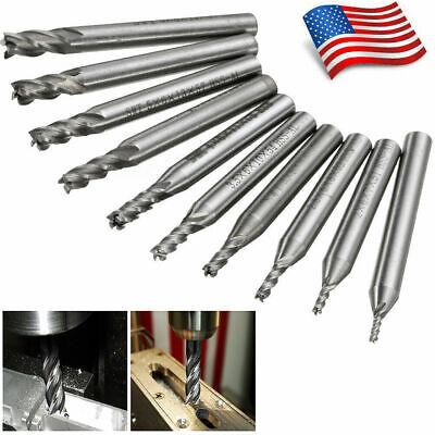 10x Hss Cnc 4 Flute End Mill Drill Bit Hole Cutter Tool Set Lathe Straight Shank
