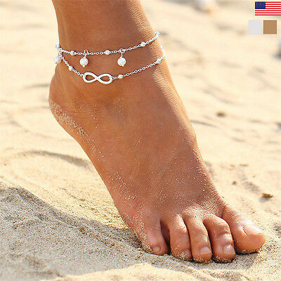 Gold /Silver Stainless Steel Pearl Charms Anklet Foot Ankle Chain Bracelet