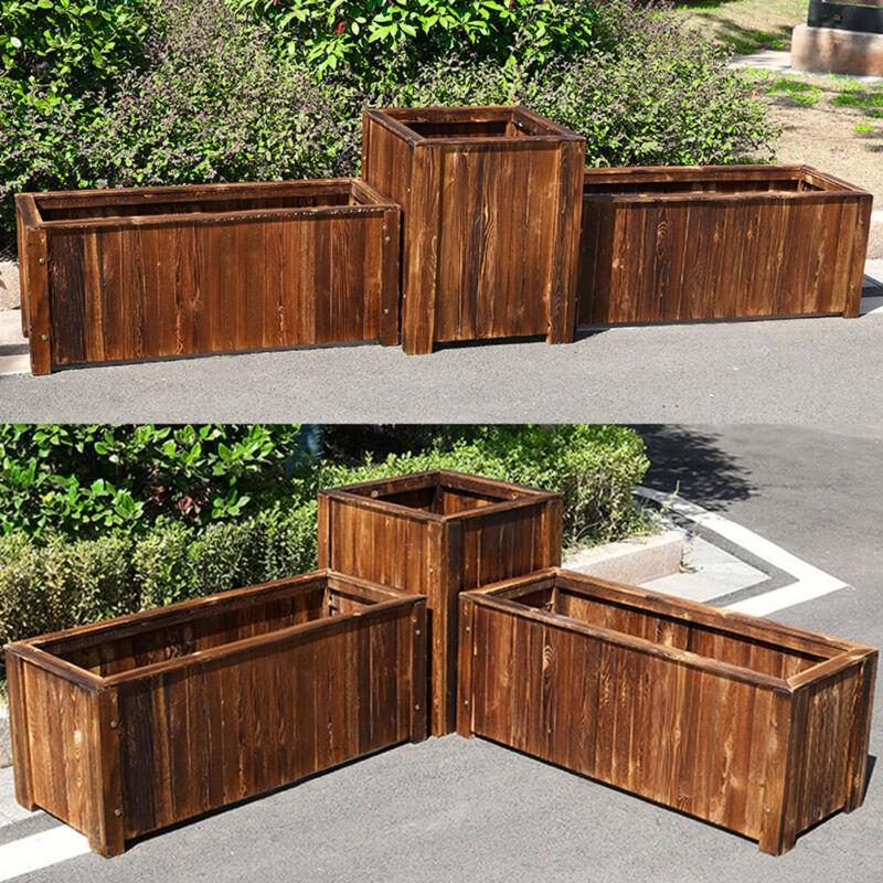 "12"" 24"" 36"" Wood Planter Box Raised Garden Bed Grow Large Flowers Vegetable Box"