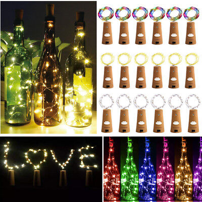 (Lot 10/20 20-Leds Cork Shaped Lights String Wine Bottle Lamp Party Home Decor 2M)