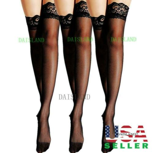 3 Hosiery Women Stockings Socks Tights Nylon Hold Up Sheer P