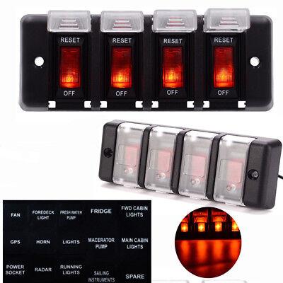 12V 4 Gang Led Light Car Marine Boat Rocker Switch Panel Control Custom Breaker