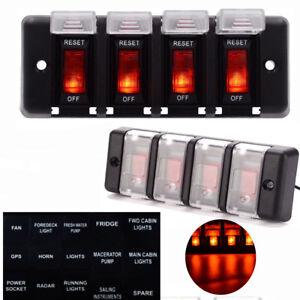 12V 4-Gang LED Light Car Marine Boat Rocker Switch Panel Control Custom Breaker
