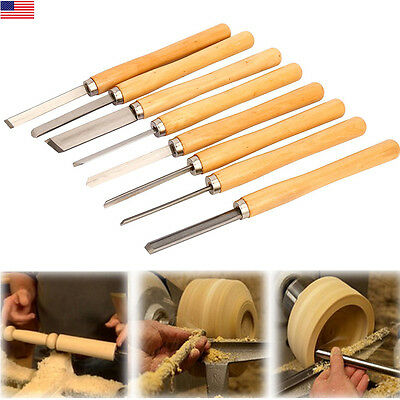 Pro HSS High Speed Steel Wood Turning Lathe Tools Chisel Gouge Woodworking Set 8