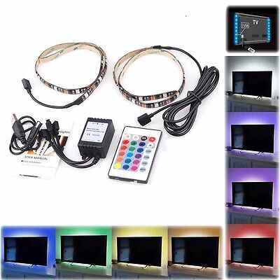 LED Home Theater TV BackLight Accent Back Lighting Kit Bias Multi-Color Strip US - Home Theater Led Lighting