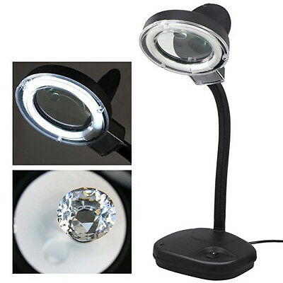 Desk Magnifier Lamp Jeweler Watch Repair Magnifying Glass Loupe Work Light 5/10X