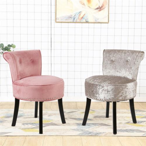 Velvet Upholstered Accent Armless Chair Makeup Vanity Stool Bedroom Furniture