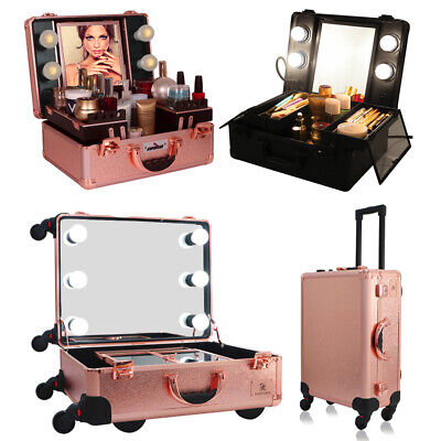 Rolling Makeup Case Wheeled Trolley, Portable Artist Train Box with Light -